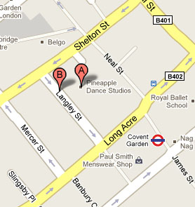 map to pineapple dance studios